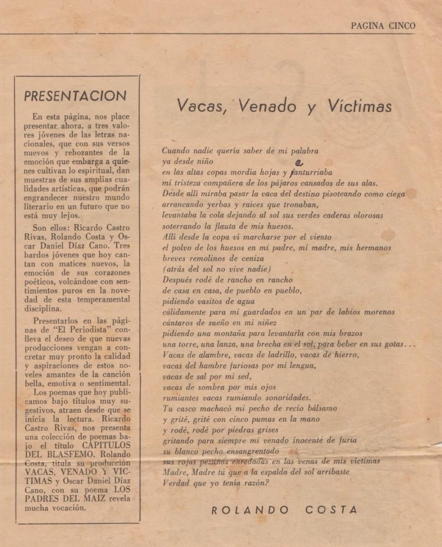 """El primer poema publicado de Rolando Costa apareció en el periódico de la facultad de periodismo de la Universidad de El Salvador, """"El Periodista"""", en octubre de 1965."""