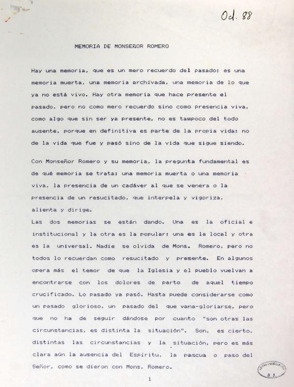 Primera página del impreso original del texto de Ignacio Ellacuría sobre Monseñor Romero, fechado por el autor en octubre de 1988.